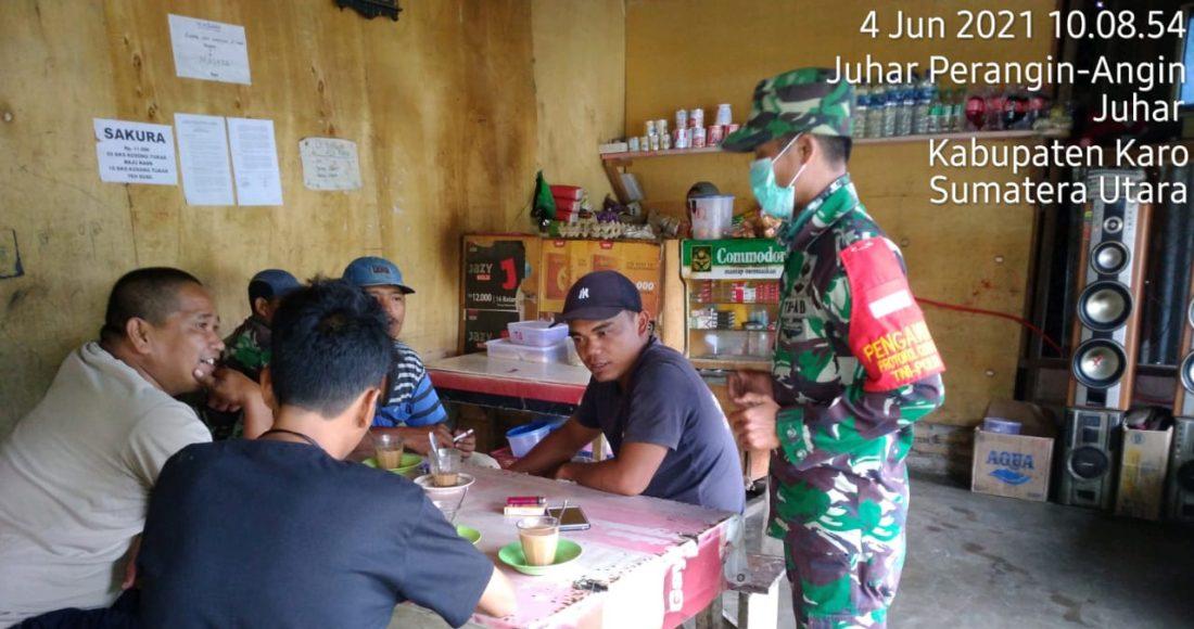 Personel Koramil 07/JH Terus Lakukan Operasi Yustisi di Sejumlah Kedai Kopi