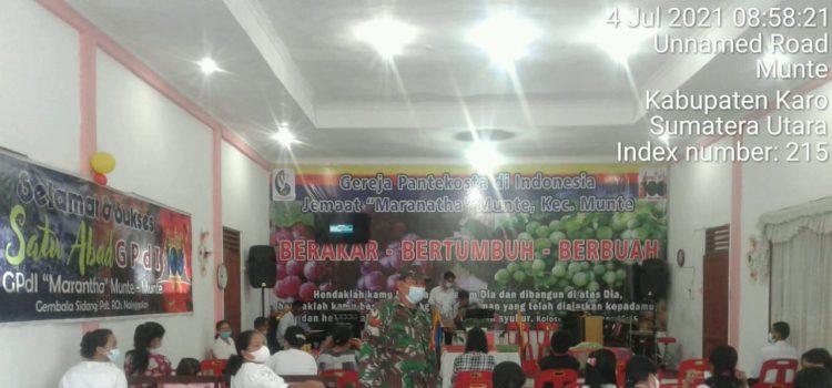 Personel Koramil 06/MT Himbau Jamaah Ibadah Minggu Taati Prokes