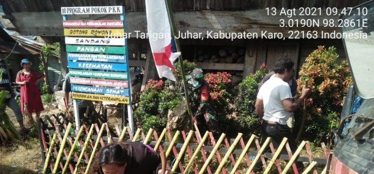 Sambut Hut RI, Babinsa Koramil 07/JH Ajak Warga Gotong Royong bersihkan Lingkungan