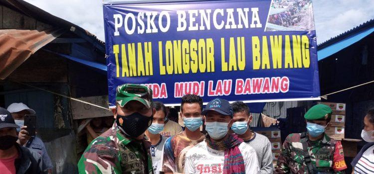 Dandim 0205/TK Serahkan Bantuan Sembako Kepada Korban Longsor Kabanjahe